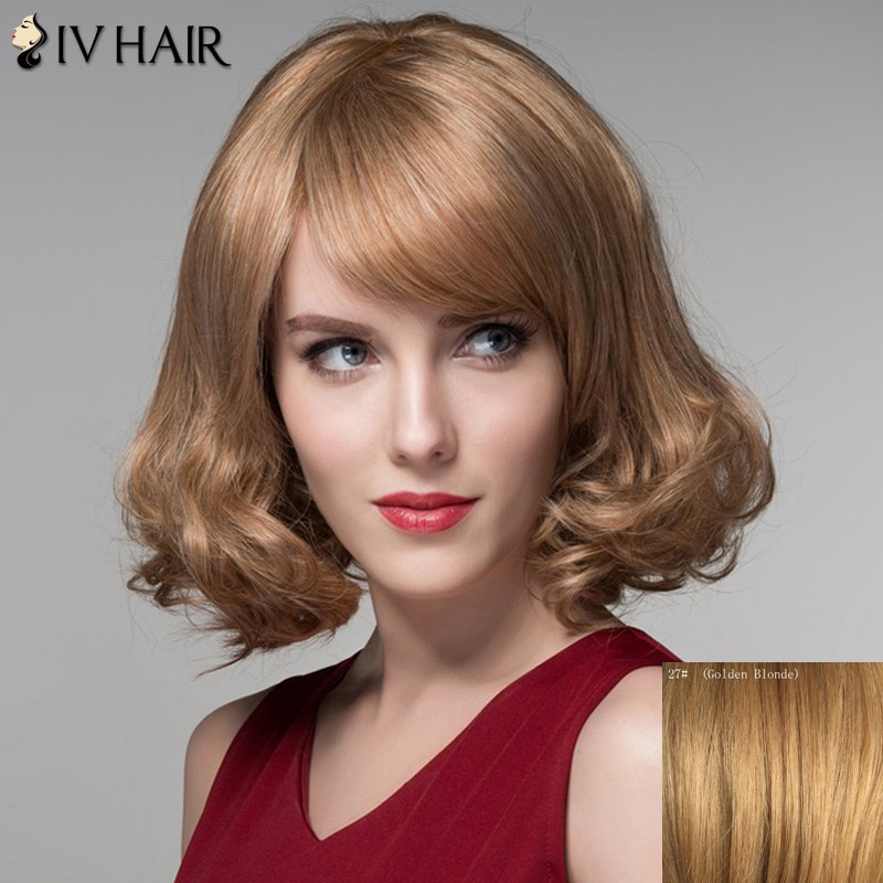 Stunning Short Shaggy Wavy Fashion Side Bang Capless Human Hair Wig For Women - GOLDEN BLONDE