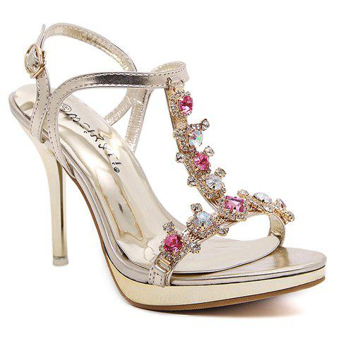 Sweet Rhinestones and Buckle Strap Design Sandals For Women - GOLDEN 37