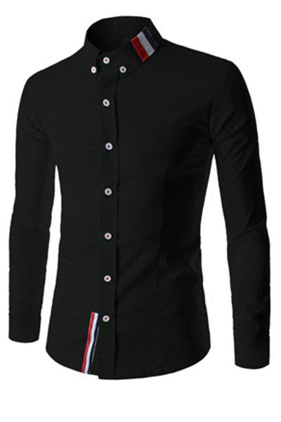 Elegant Turn-Down Collar Color Block Stripes Pattern Long Sleeve Men's Button-Down Shirt - BLACK XL