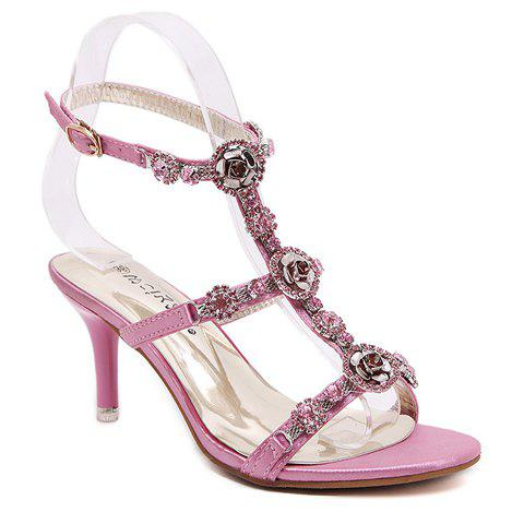 Sweet T-Strap and Stiletto Heel Design Sandals For Women - PINK 36