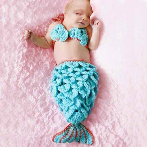 Hot Sale Manual Wool Knitting Mermaid Design Twinset Baby Sleeping Bag Blanket - BLUE