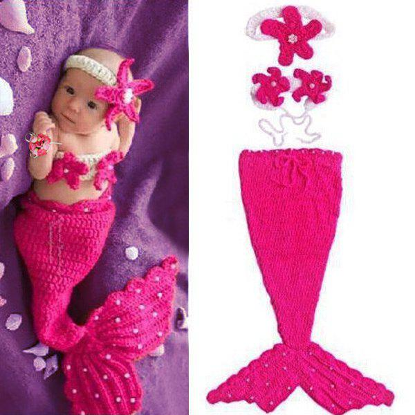 Sweet Hand Knitting Mermaid Design Three-Piece Suit Baby Sleeping Bag Blanket - ROSE
