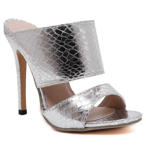 Trendy Snake Print and Super High Heel Design Sandals For Women - SILVER 38