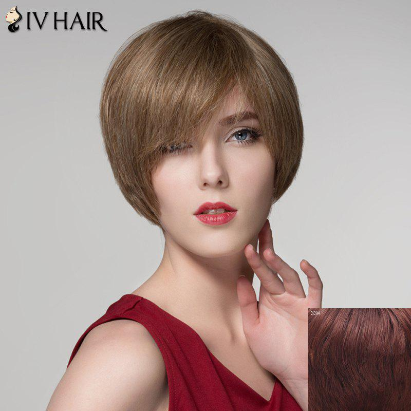 Elegant Short Straight Assorted Color Side Bang Capless Human Hair Wig For Women - DARK AUBURN BROWN
