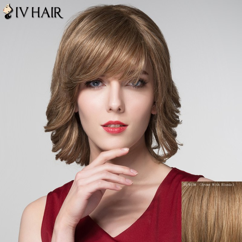 Graceful Short Inclined Bang Capless Shaggy Wave Human Hair Wig - BROWN/BLONDE