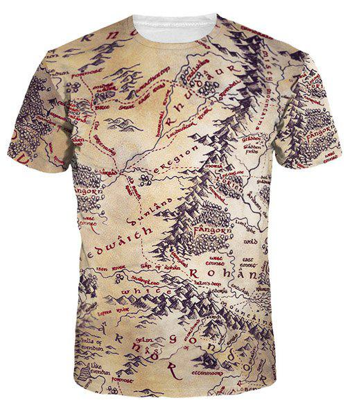 3D Ancient Map Print Round Neck Short Sleeves Men's T-Shirt - COLORMIX M