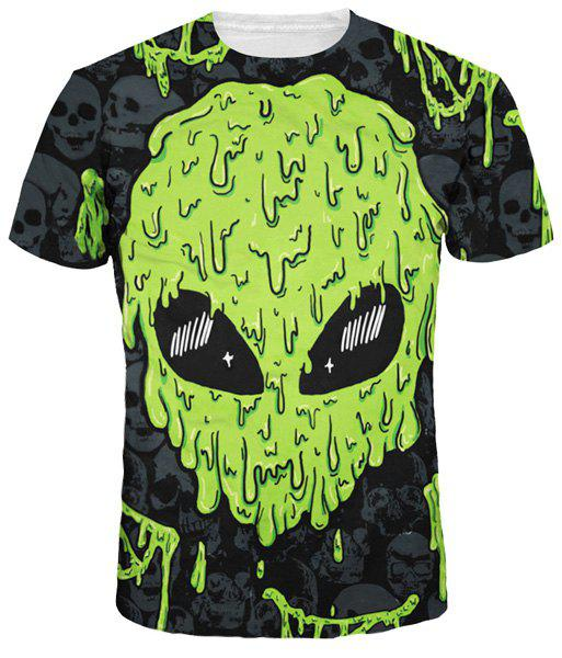 Green Skulls Print Round Neck Short Sleeves Men's 3D T-Shirt