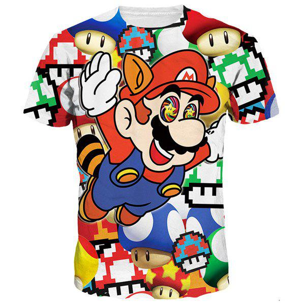 3D Cartoon Mario Print Round Neck Short Sleeves Men's Funny T-Shirt - COLORMIX M