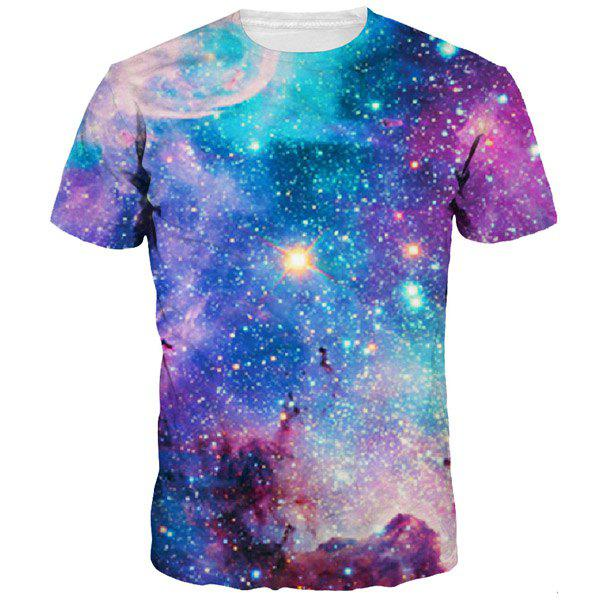 3D Colorful Starry Sky Print Round Neck Short Sleeves Men's T-Shirt - COLORMIX M