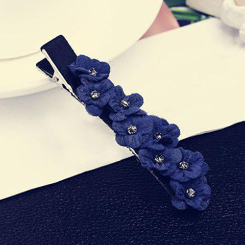 Stylish Rhinestone Floral Hairpin For Women - BLUE