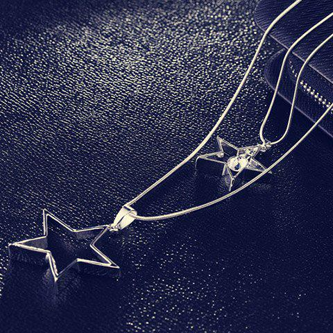 Faux Crystal Layered Star Sweater Chain - SILVER