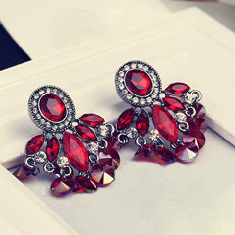 Pair of Tassel Faux Crystal Drop Earrings - RED