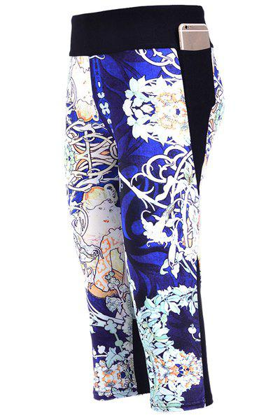 Stylish Elastic Waist Digital Floral Print Women's Capri Pants - COLORMIX S