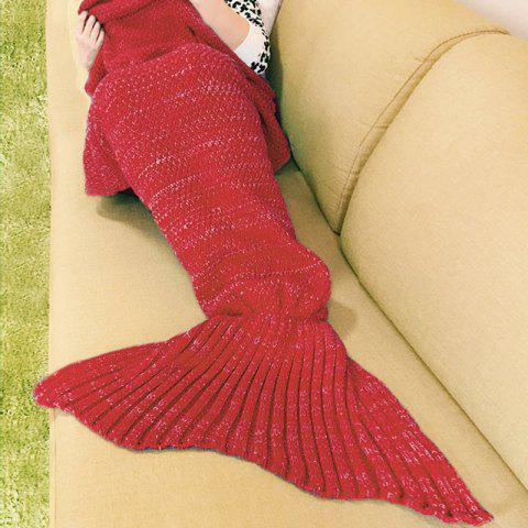 Warm Fishtail Blanket - RED ONE SIZE(FIT SIZE XS TO M)