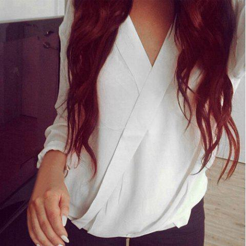 17 Off 2018 Graceful V Neck Long Sleeve Chiffon White Women S Wrap