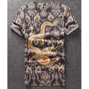 Fashion V-Neck Dragon Printed Pullover T-Shirt For Men