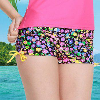 Graceful Mid Waist Colorful Tiny Floral Print Side Scrunch Women's Swim Boyshorts
