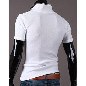 New Style Turn-down Collar Letters Print Short Sleeves Men's Polo T-Shirt - WHITE WHITE