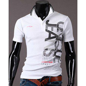 New Style Turn-down Collar Letters Print Short Sleeves Men's Polo T-Shirt