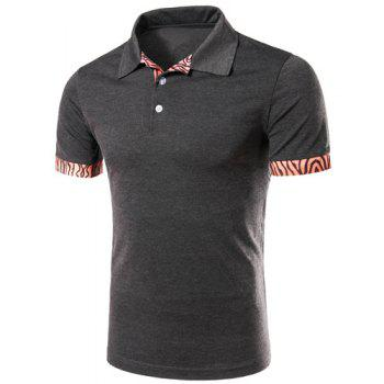 Casual Turn-down Collar Tree Stripes Spliced Men's Short Sleeves T-Shirt