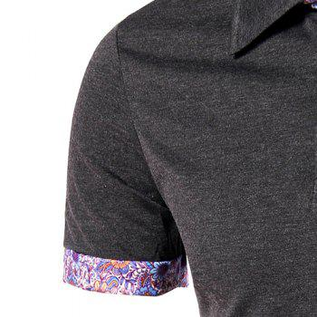 Flower Spliced Turn-down Collar Short Sleeves Men's Polo T-Shirt - BLACK BLACK