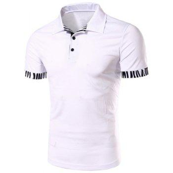 Zebra-Stripe Spliced Turn-down Collar Short Sleeves Men's Polo T-Shirt - WHITE WHITE