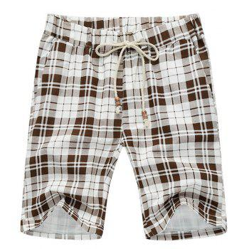 Casual Loose Fit Straight Leg Plaid Print Lace-Up Men's Thin Shorts