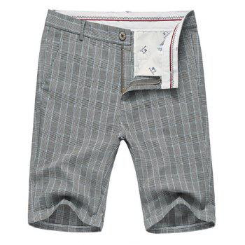 Color Block Plaid Fitted Straight Leg Zipper Fly Men's Thin Shorts