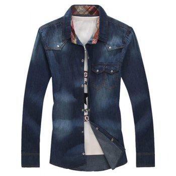 Turn-Down Collar Buttons Embellished Long Sleeve Denim Shirt For Men