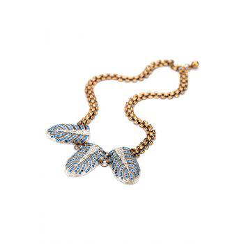 Vintage Rhinestone Feather Decorated Necklace For Women - BLUE