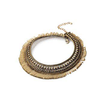 Vintage Chunky Alloy Fringed Necklace - GOLDEN