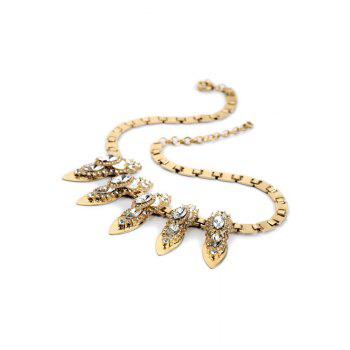 Vintage Faux Crystal Box Chain Necklace For Women - GOLDEN