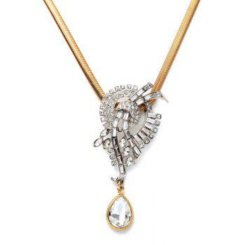Stylish Water Drop Faux Crystal Necklace For Women - GOLDEN