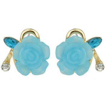 Pair of Floral Rhinestone Hollow Out Earrings