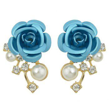 Pair of Faux Pearl Rhinestone Flower Earrings
