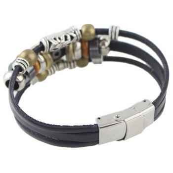 Trendy Faux Leather Rope Snowflake Beads Bracelet For Men -  BLACK