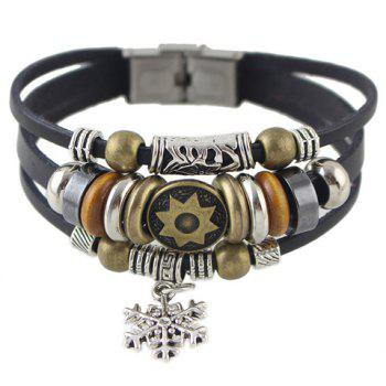 Trendy Faux Leather Rope Snowflake Beads Bracelet For Men - BLACK BLACK