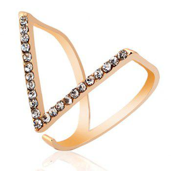 Stylish Rhinestone V Shape Cuff Ring For Women