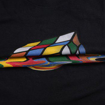 Funny Round Neck Rubik's Cube Print Short Sleeves Men's 3D Thin T-Shirt - BLACK BLACK