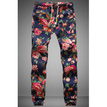 Narrow Feet Drawstring Floral Printed Men's Jogger Pants