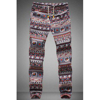 Narrow Feet Drawstring Tribal Print Men's Jogger Pants