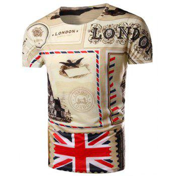Round Neck Union Jack Print Short Sleeve Men's T-Shirt