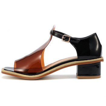 Casual Hollow Out and Chunky Heel Design Women's Peep Toe Shoes - COFFEE COFFEE