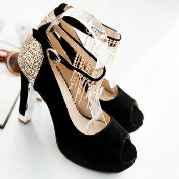 Fashionable Sequins and Ankle Strap Design Peep Toe Shoes For Women - BLACK BLACK