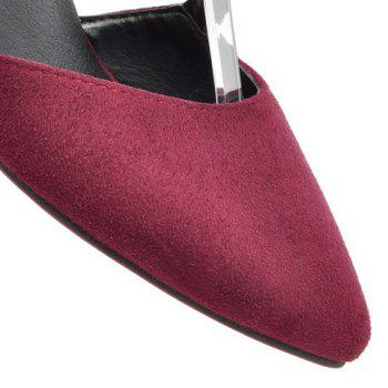 Casual Buckle Strap and Suede Design Pumps For Women - WINE RED 36