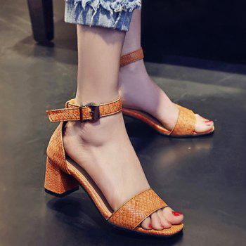 Fashionable Ankle Strap and Embossing Design Women's Sandals - YELLOW 38