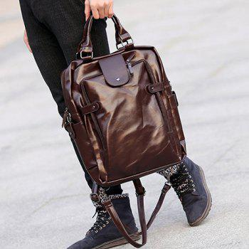 Leisure Zippers and Solid Colour Design Men's Backpack -  COFFEE