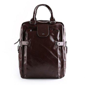 Leisure Zippers and Solid Colour Design Men's Backpack - COFFEE COFFEE