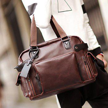 Leisure PU Leather and Zippers Design Men's Briefcase -  COFFEE