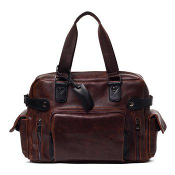 Leisure PU Leather and Zippers Design Men's Briefcase - COFFEE COFFEE